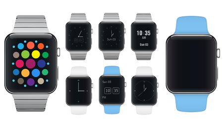 aluminium  design: Set of sport and aluminium metal electronic smart watches with different dials design style isolated