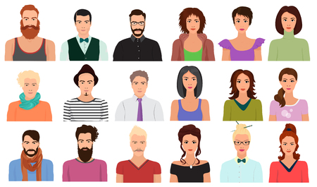 Hombre, macho, hembra, mujer, carácter, caras, avatar, icono, diferente, ropa, peinado, estilos