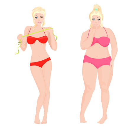dinnertime: Thin Health and Fat woman. Lifestyle infographic vector illustration