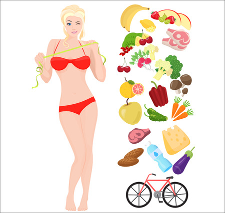 slim woman: Thin Health and Fat woman. Lifestyle infographic vector illustration with icons