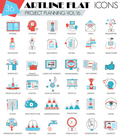 ultra modern: Vector project business planning ultra modern outline artline flat line icons for web and apps Illustration