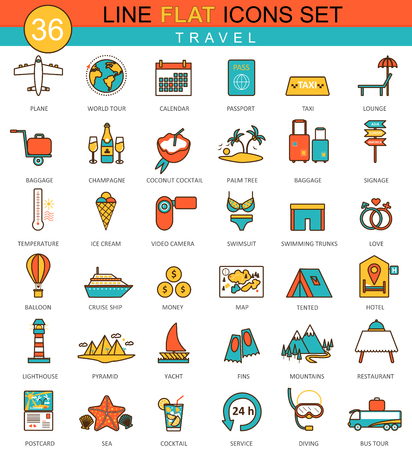Vector travel flat line icon set. Modern elegant style design  for web Stock Illustratie