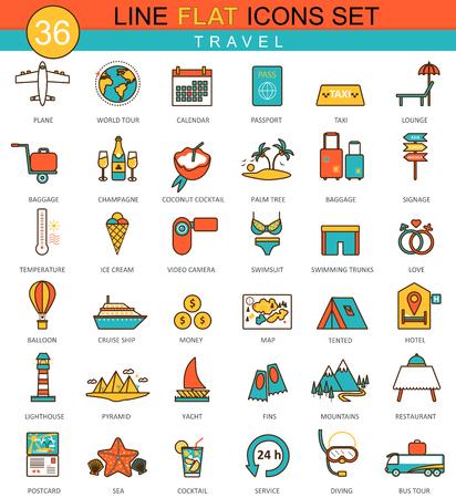 Vector travel flat line icon set. Modern elegant style design  for web 向量圖像