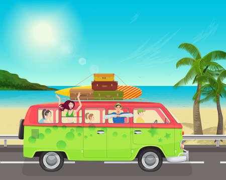 people traveling: Group of young people traveling in vintage bus Camper van on the sea.