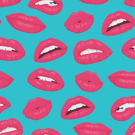 Vintage lèvres rose rouge baiser pattern sur fond bleu Vecteurs