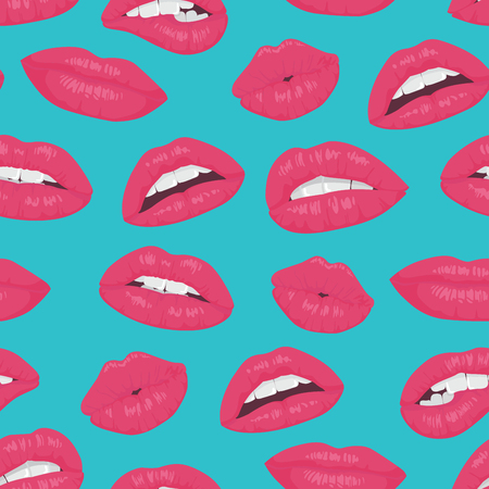 Vintage pink red lips kiss seamless pattern on blue background