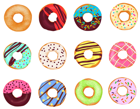 Set of cartoon donuts cakes isolated on white background