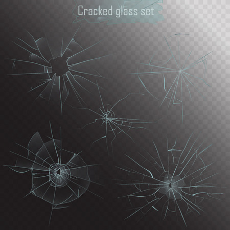 Set of different types of realistic broken glass crack on alpha background