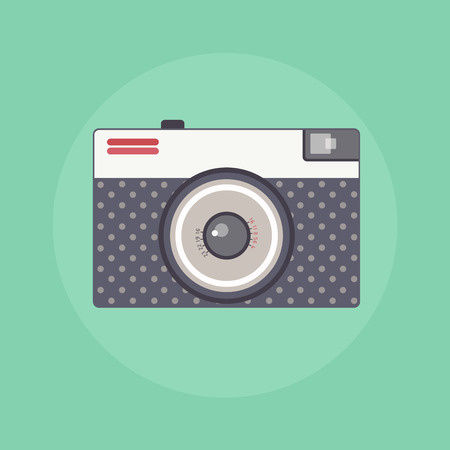 focus on shadow: Vintage Retro camera color flat isolated vector illustration