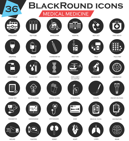 ultra modern: Vector Medical circle white black icon set. Ultra modern icon design for web