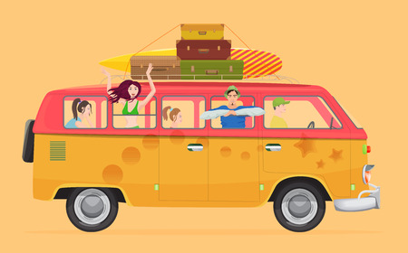 people traveling: Group of young people traveling in vintage bus Camper van concept Illustration