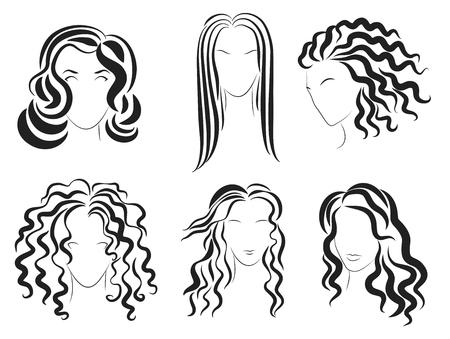 Le donne affrontano il logo della silhouette di stile dei capelli. Illustrazione Vettoriale Archivio Fotografico - 56648887