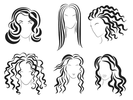 Las mujeres se enfrentan logotipo del estilo de la silueta del cabello. Ilustración del vector