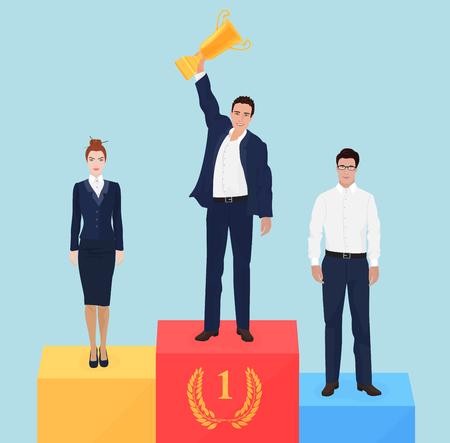 recompense: Businessman team leader on victory podium concept. Successful business champion Illustration