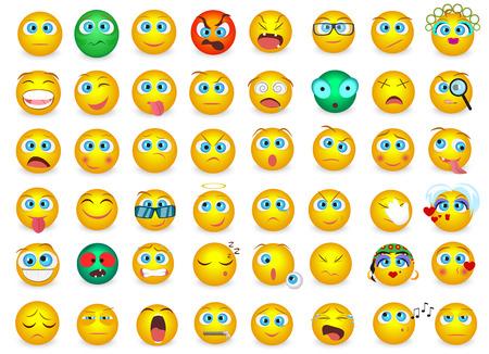分離された絵文字顔感情アイコンのメガ大きなコレクション セット。ベクトル図