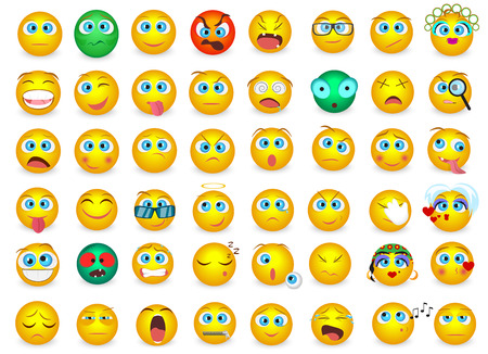 Mega big collection set of Emoji face emotion icons isolated. Vector illustration