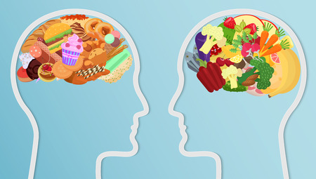 Health and unhealth Food eat in brain. Human head silhouette Diet choice healthy lifestyle concept