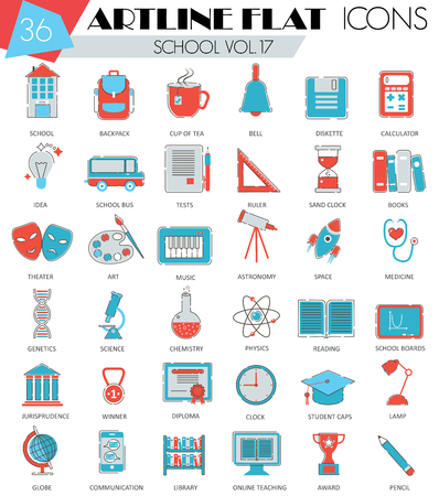 ultra modern: Vector School University college ultra modern outline artline flat line icons for web and apps Illustration