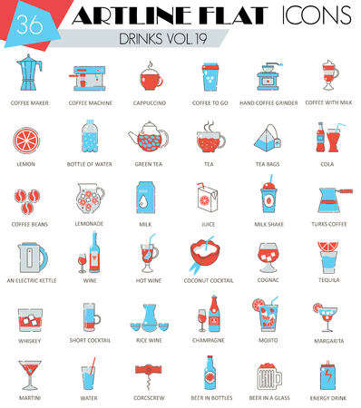 ultra modern: Vector Drinks ultra modern outline artline flat line icons for web and apps