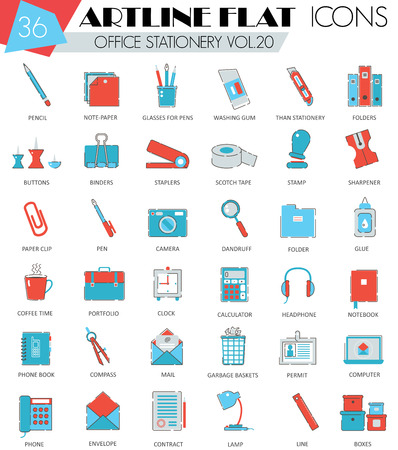 ultra modern: Vector Office stationery ultra modern outline artline flat line icons for web and apps Illustration