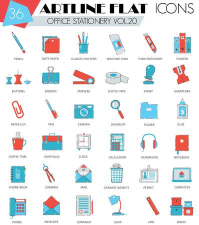 ultra modern: Vector Office stationery ultra modern outline artline flat line icons for web and apps Illustration