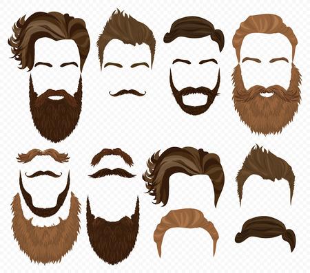 Man Haare, Schnurrbart und Bärte Sammlung. Hipster hoch detaillierte Mode-Elemente Vektorgrafik