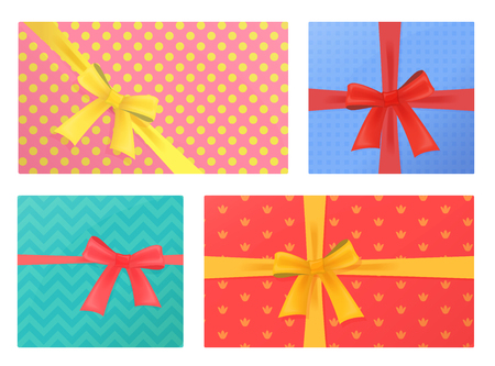 Birthday and Christmas holidays wrapped gift presents Gifts Pack.Top view Ilustração