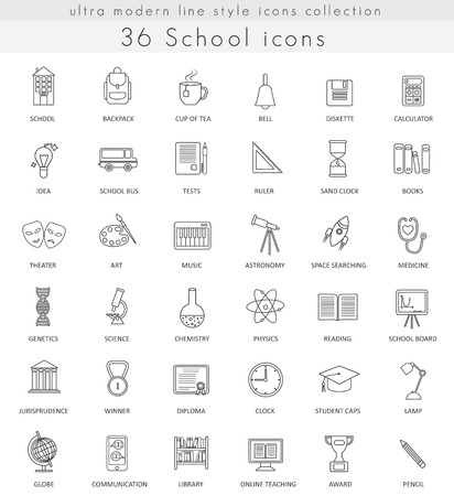 ultra modern: Vector School ultra modern outline line icons for web and apps