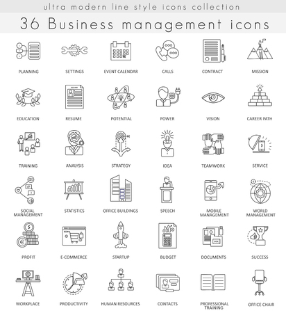 ultra modern: Vector Business management ultra modern outline line icons for web and apps