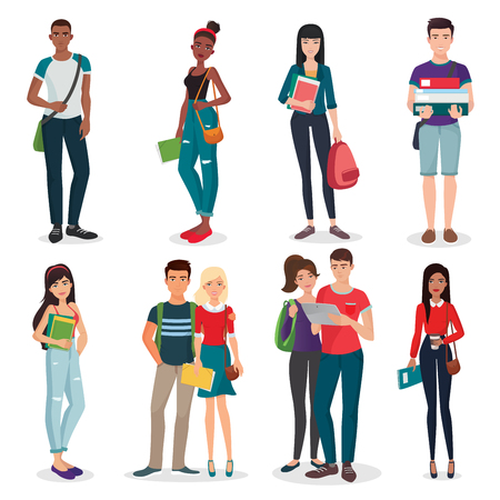 International university or college group of young students characters and couples collection