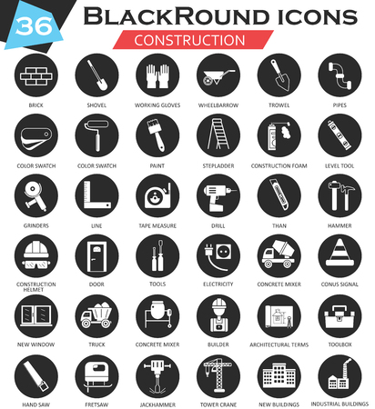 ultra modern: Vector Construction and building tools circle white black icon set. Ultra modern icon design for web