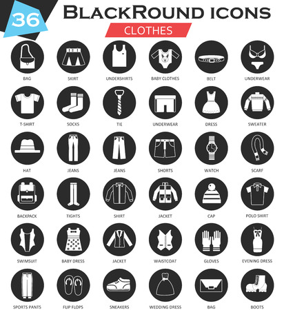 ultra modern: Vector Clothes shoes circle white black icon set. Ultra modern icon design for web