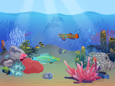 Sea ocean underwater landscape scene with colorful exotic fish, plants and coral reef Vector Illustration