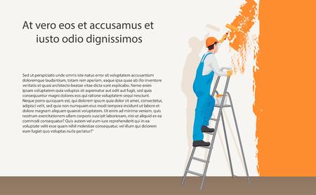 男デコレータ画家の色の壁を塗るします。プロセスの概念