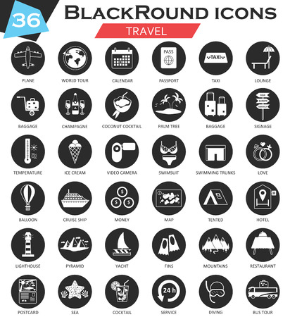 ultra modern: Vector Hotel circle white black icon set. Ultra modern icon design for web