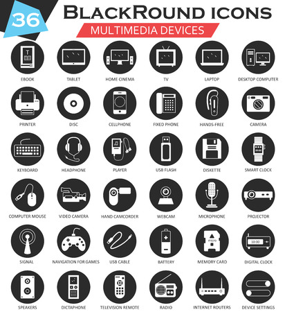 ultra modern: Vector Multimedia devices circle white black icon set. Ultra modern icon design for web Illustration