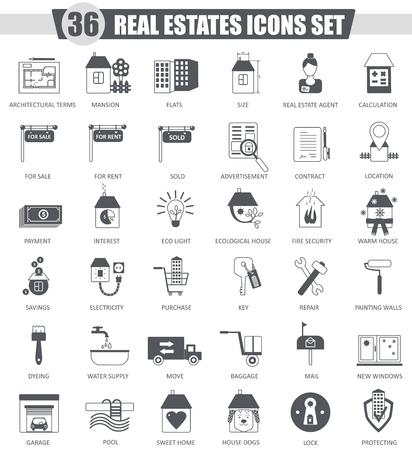for rental: Vector Real estates black icon set. Dark grey classic icon design for web