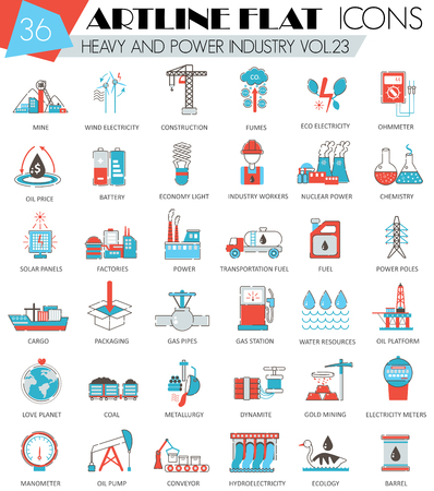 ultra modern: Vector Heavy and power industry ultra modern outline artline flat line icons for web and apps