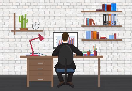 persons back: Vista trasera de la del hombre de negocios que trabaja en la computadora de escritorio en la oficina moderna