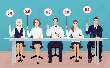 Groep van professionele competitie rechters houden tabletten met schattingen Vector Illustratie