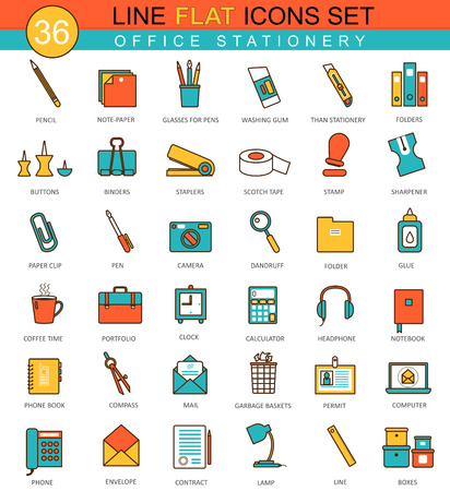 office stationery: Vector Office stationery flat line icon set. Modern elegant style design for web Illustration