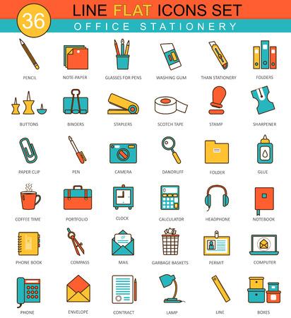 Vector Office stationery flat line icon set. Modern elegant style design for web Ilustração
