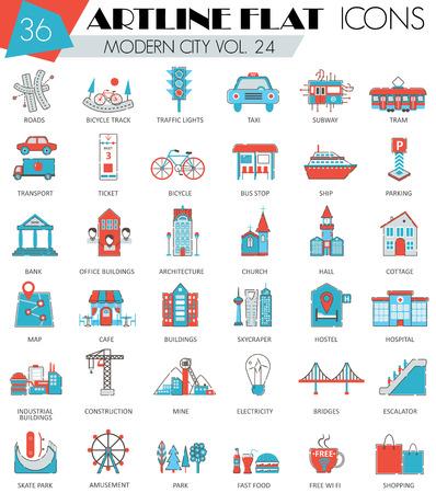 ultra modern: Vector Modern city ultra modern outline artline flat line icons for web and apps