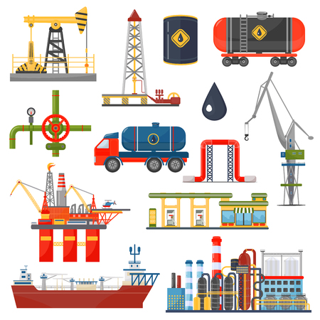 Oil gas industry infographics concept. Gasoline diesel fuel transportation and distribution icons Иллюстрация