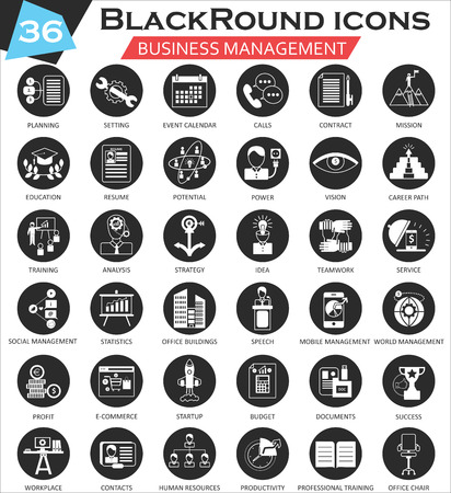 ultra modern: Business management circle white black icon set. Ultra modern icon design for web
