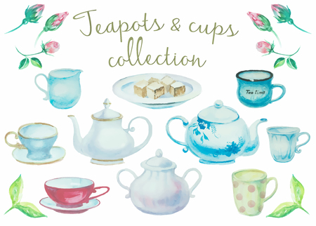 Tea time. Vintage pots and cups high detail collection