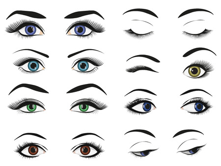 Female woman eyes and brows image collection set