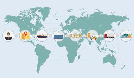 貨物物流配送送料サービス インフォ グラフィックの世界マップの概念