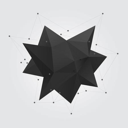 3d star: Black polygonal geometric abstract shape figure. Low poly abstract geometry shape 3d star