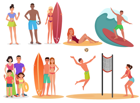sand beach: People and couples on active sport vacation beach collection. Summer holidays set Illustration